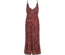 Aidan B Embroidered Point D'esprit Midi Dress Multicolor