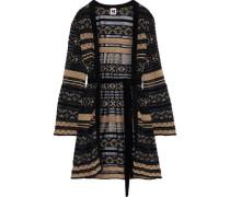 Belted Crochet-knit Cardigan Black