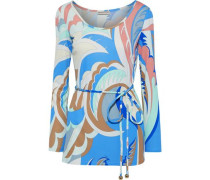 Woman Belted Printed Jersey Top Blue