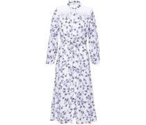 Broderie Anglaise-paneled Floral-print Gauze Midi Dress White