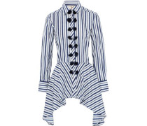 Marta Tassel-trimmed Striped Cotton-poplin Peplum Shirt Navy