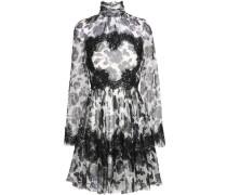Lace-trimmed floral-print silk-blend chiffon mini dress