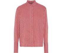 Striped Cotton-blend Poplin Shirt Claret
