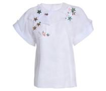 Embellished silk-organza top