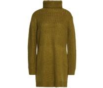 Paneled ribbed-knit turtleneck sweate