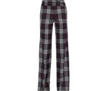 Checked Wool Straight-leg Pants Midnight Blue