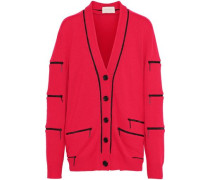 Zip-detailed Cashmere Cardigan Red