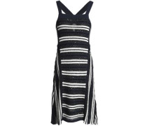 Sequin-embellished striped knitted mini dress