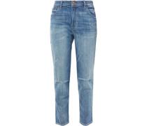 Woman Distressed Faded Mid-rise Slim-leg Jeans Mid Denim