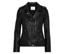 Coated Suede Biker Jacket Black