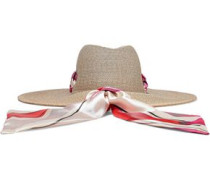 Cassidy Striped Satin-trimmed Woven Straw Sunhat Sand Size ONESIZE
