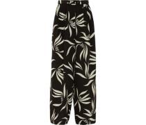 Belted Printed Silk-crepe Wide-leg Pants Black