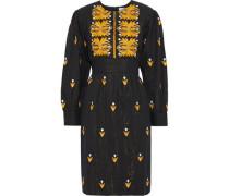 Woman Mexi Metallic Embroidered Striped Cotton Dress Black