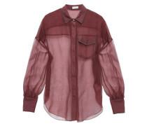 Woman Bead-embellished Silk-organza Shirt Plum