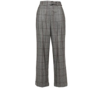 Woman Belted Wool Wide-leg Pants Gray