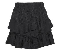 Woman Faklie Tiered Silk-jacquard Mini Skirt Black