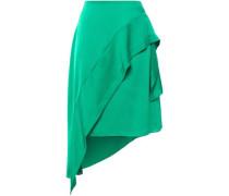 Asymmetric Wrap-effect Ruffle-trimmed Hammered-satin Midi Skirt Green