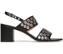 Embellished Leather Sandals Black