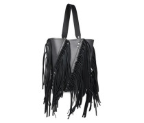 Woman Hex Medium Fringed Metallic Leather Bucket Bag Black