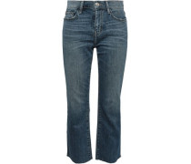 Cropped Faded Mid-rise Bootcut Jeans Dark Denim  4