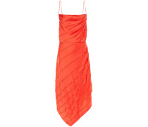 Woman Lilly Asymmetric Crystal-embellished Satin-crepe Dress Tomato Red