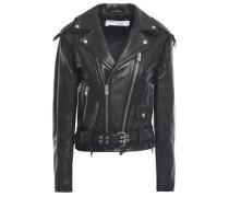 Lenn Frayed Leather Biker Jacket Black