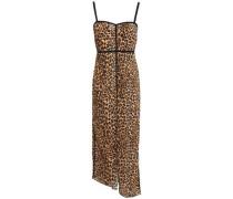 Woman Abir Asymmetric Leopard-print Plissé-jersey Midi Dress Animal Print