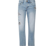 The Crossover Embroidered Mid-rise Straight-leg Jeans Light Denim  3