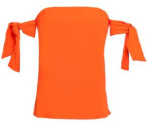 Off-the-shoulder Knotted Cady Top Bright Orange Size 12