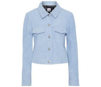 Woman Vera Cropped Suede Jacket Sky Blue