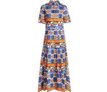 Pleated printed cotton-blend midi dress