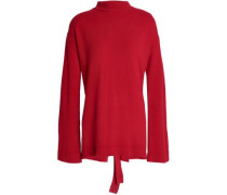 Open-back Merino Wool Sweater Red