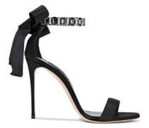Crystal-embellished Grosgrain And Satin Sandals Black
