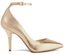 Metallic snake-effect leather pumps