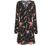 Floral-print Voile Mini Dress Black