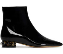 Embellished Patent-leather Ankle Boots Black