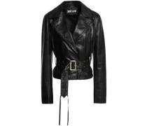 Fringed Leather Jacket Black