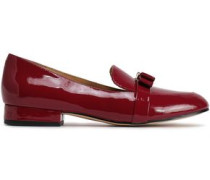 Caroline Bow-embellished Patent-leather Loafers Plum