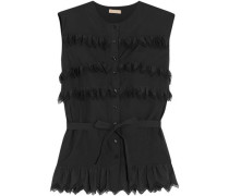 Ruffled Cotton-poplin Top Black