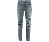 Leather-trimmed Distressed Mid-rise Skinny Jeans Mid Denim  7