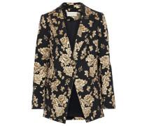 Metallic Floral-jacquard Blazer Black Size 0