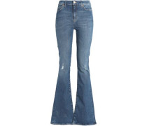 Distressed High-rise Flared Jeans Mid Denim