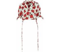 Cropped floral-print silk-faille shirt