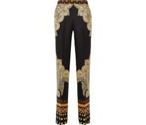 Silk-cloqué Wide-leg Pants Black