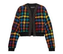 Houndstooth cotton-blend bomber jacket