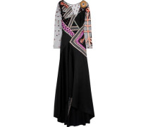 Kite Embroidered Tulle-paneled Satin-crepe Gown Black Size 12
