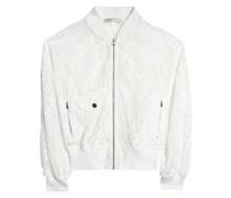 Guipure lace bomber jacket