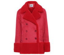 Woman Johanne Double-breasted Faux Shearling Coat Tomato Red