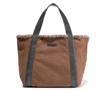 Leather-trimmed Bead-embellished Shearling Tote Brown Size --