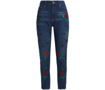 Embroidered High-rise Straight-leg Jeans Mid Denim  6